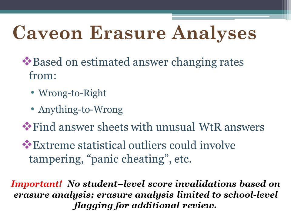 Caveon Erasure Analyses