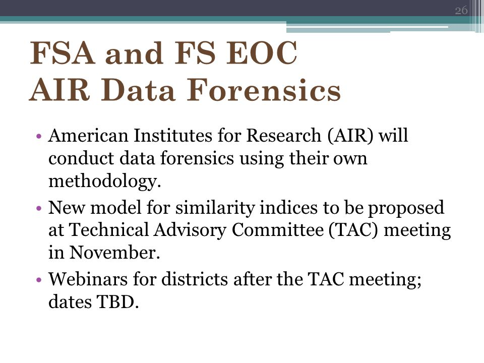 FSA and FS EOC AIR Data Forensics