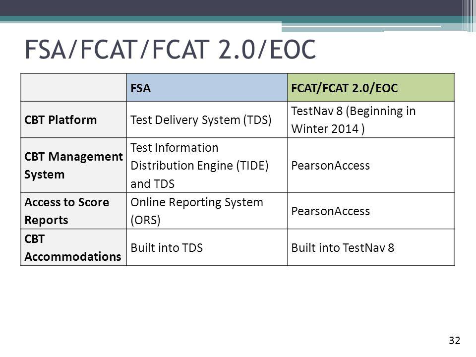 FSA/FCAT/FCAT 2.0/EOC FSA FCAT/FCAT 2.0/EOC CBT Platform