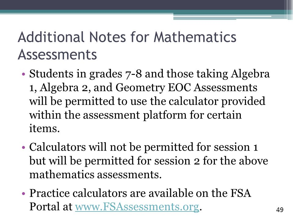 Additional Notes for Mathematics Assessments
