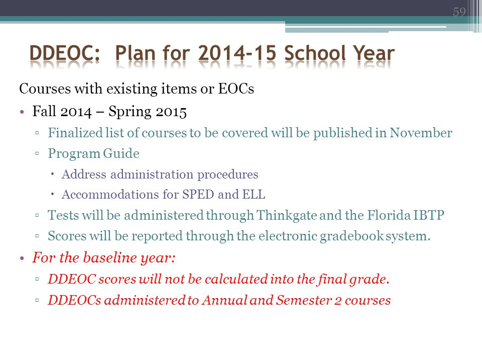 DDEOC: Plan for 2014-15 School Year