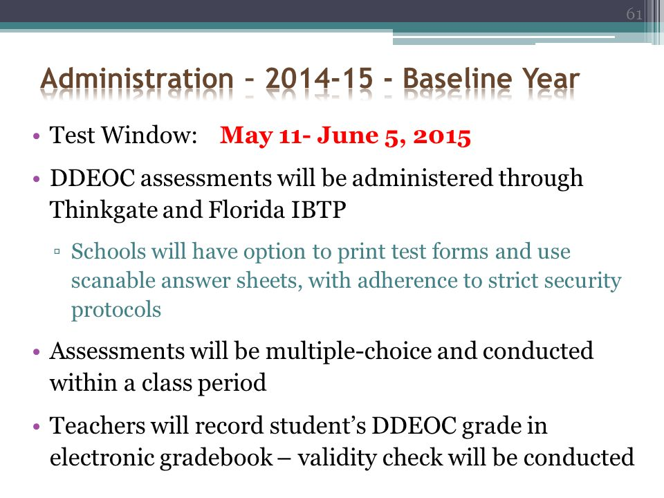 Administration – 2014-15 - Baseline Year