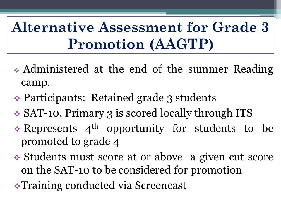 Alternative Assessment for Grade 3 Promotion (AAGTP)