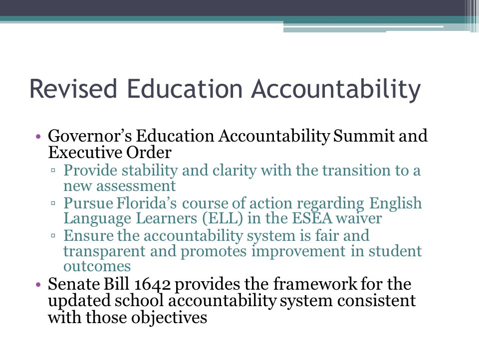 Revised Education Accountability
