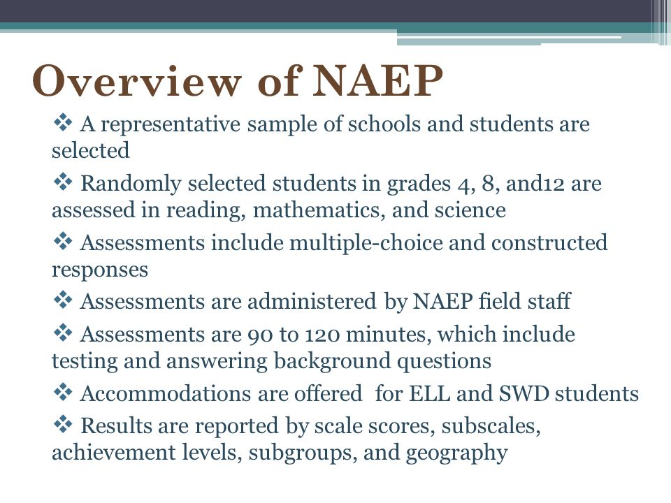 Overview of NAEP A representative sample of schools and students are selected.