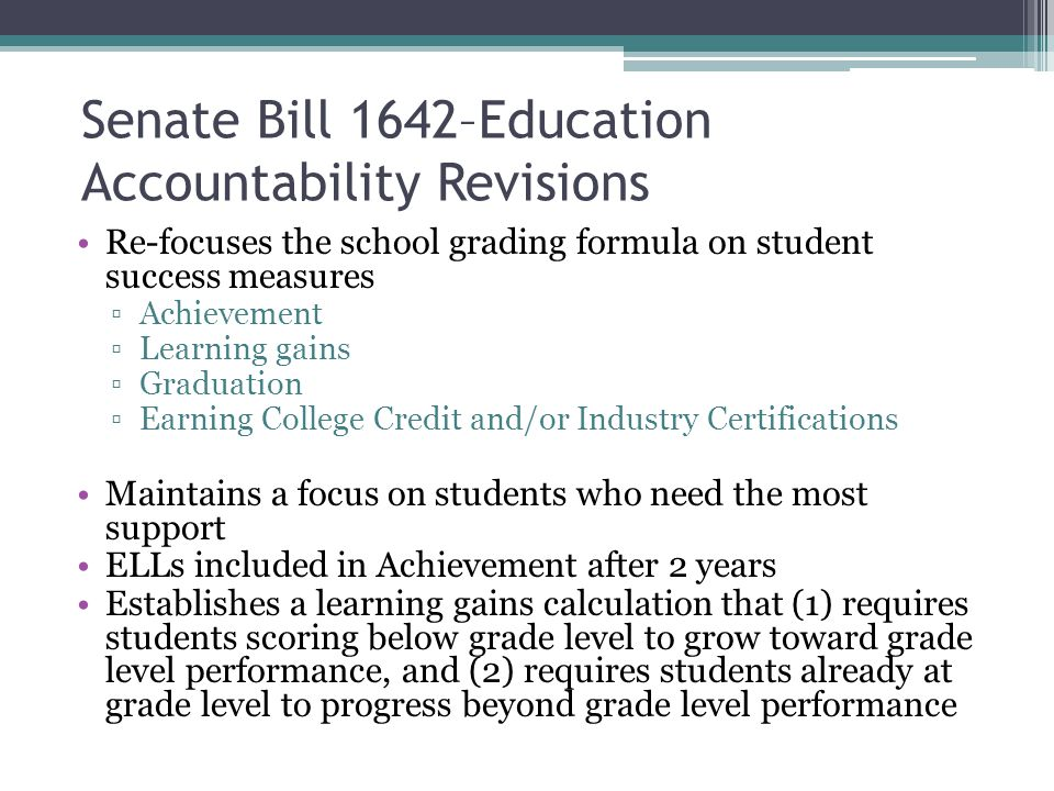 Senate Bill 1642–Education Accountability Revisions