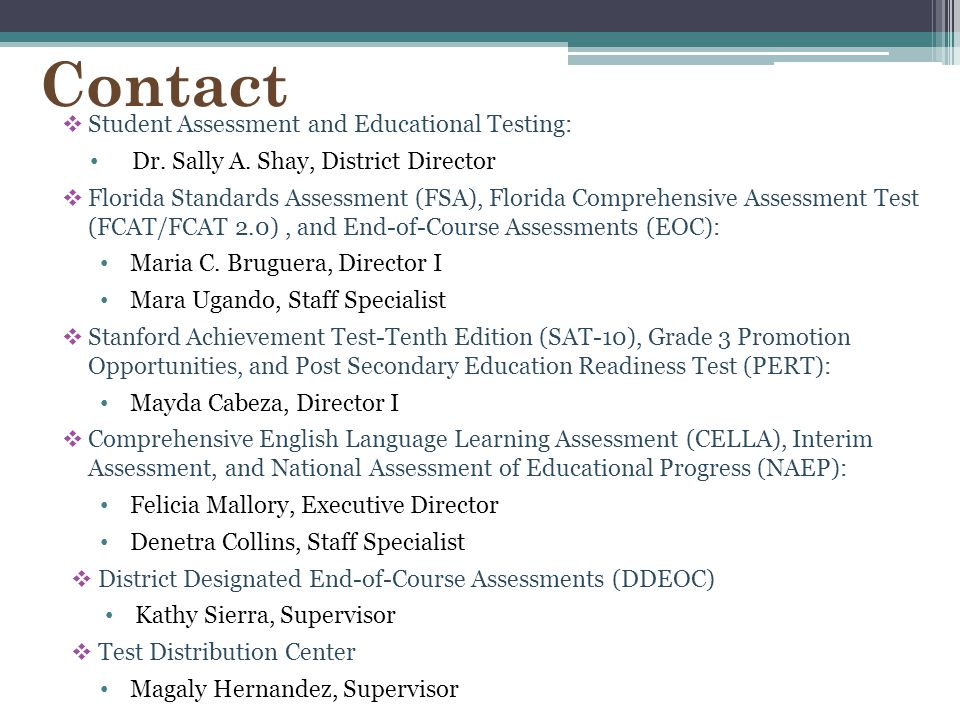 Contact Student Assessment and Educational Testing: