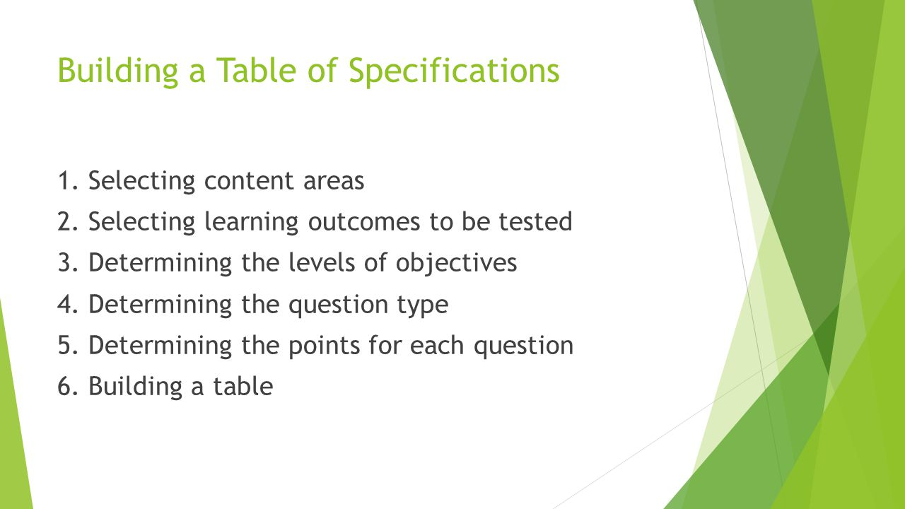 Building a Table of Specifications