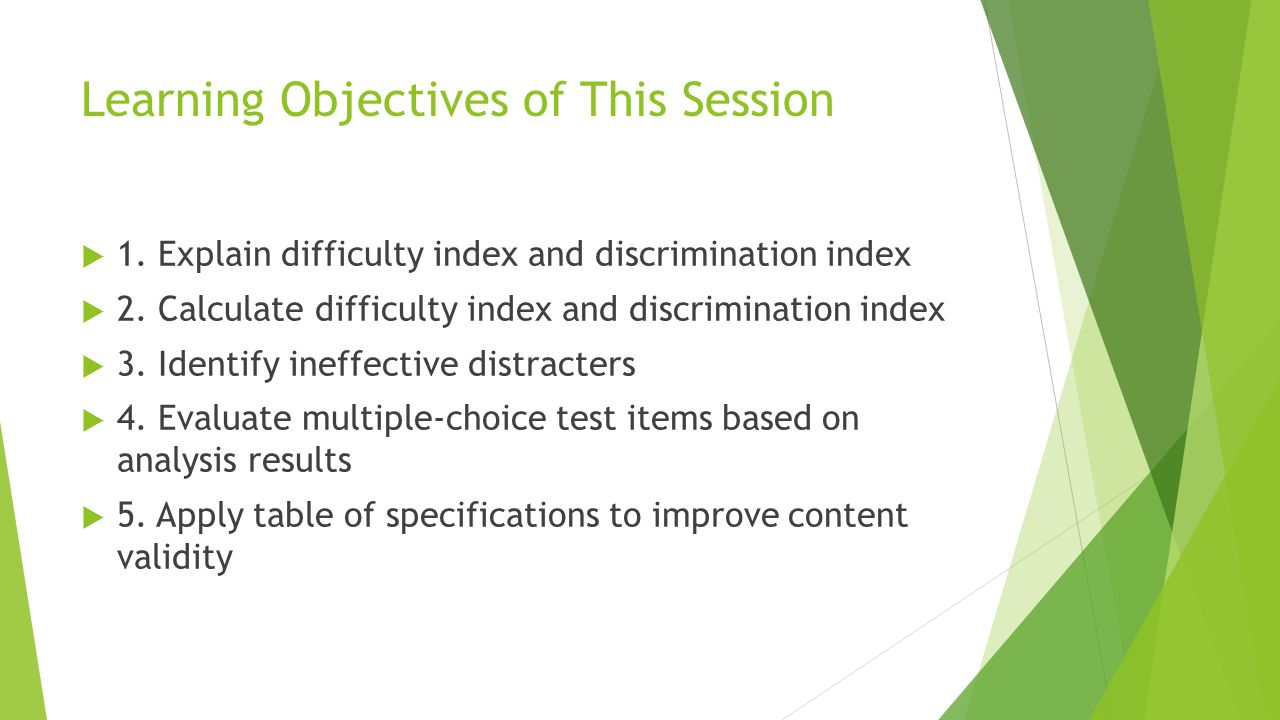 Learning Objectives of This Session