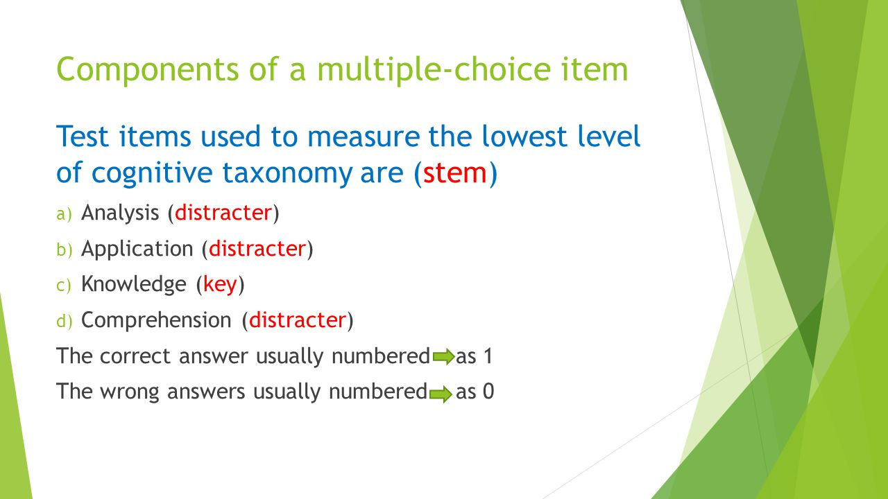 Components of a multiple-choice item