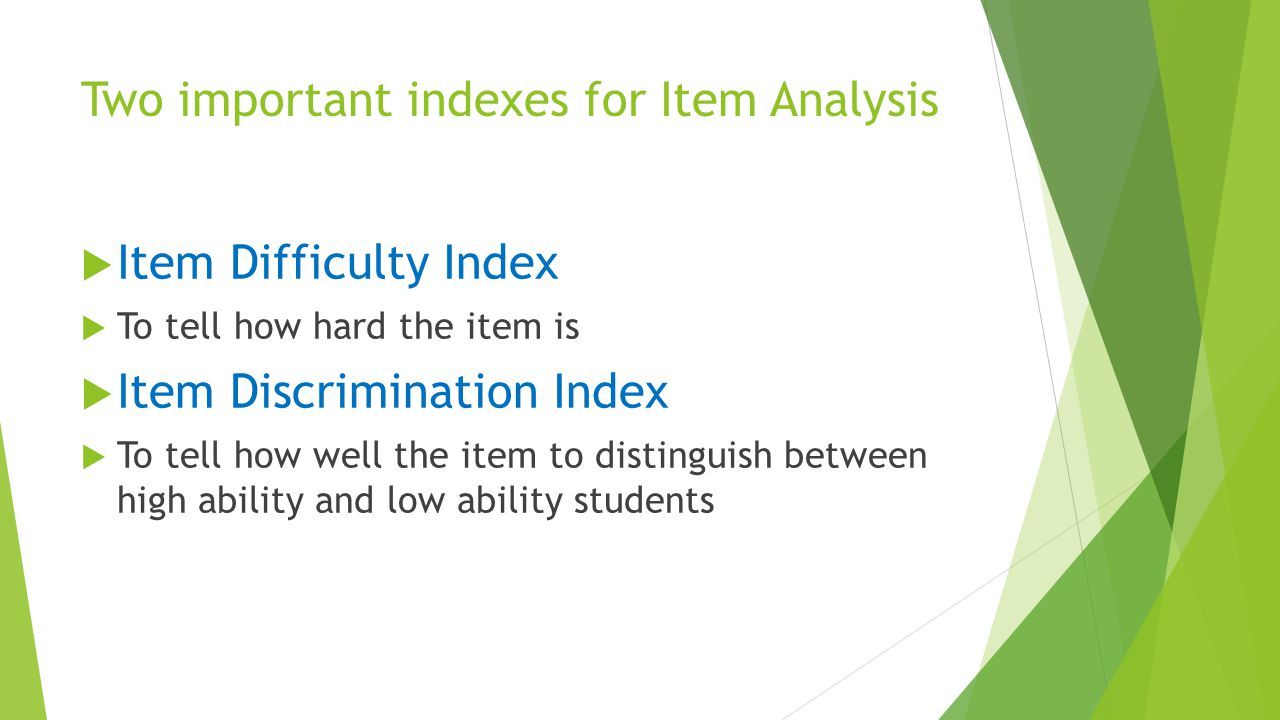 Two important indexes for Item Analysis