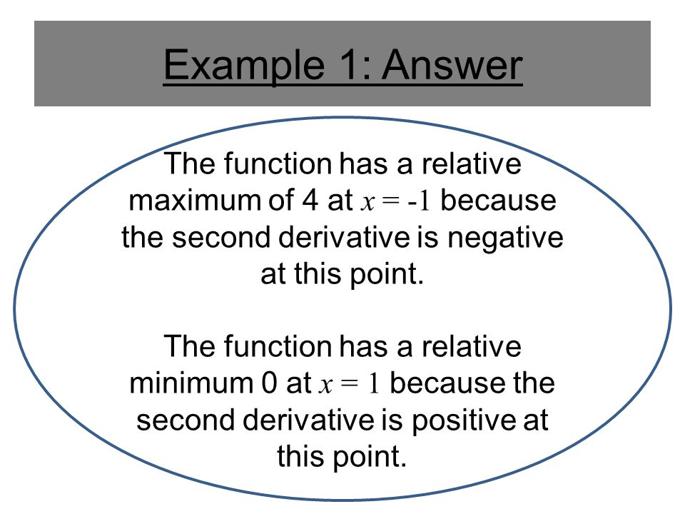 Example 1: Answer The function has a relative maximum of 4 at x = -1 because the second derivative is negative at this point.