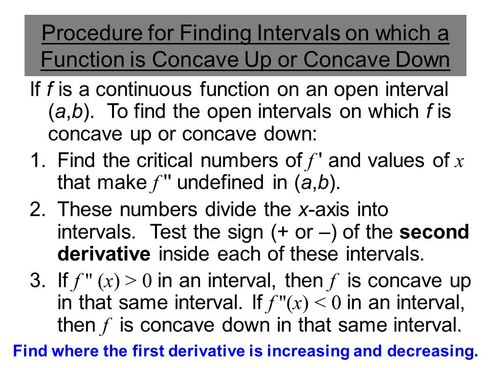 Find where the first derivative is increasing and decreasing.