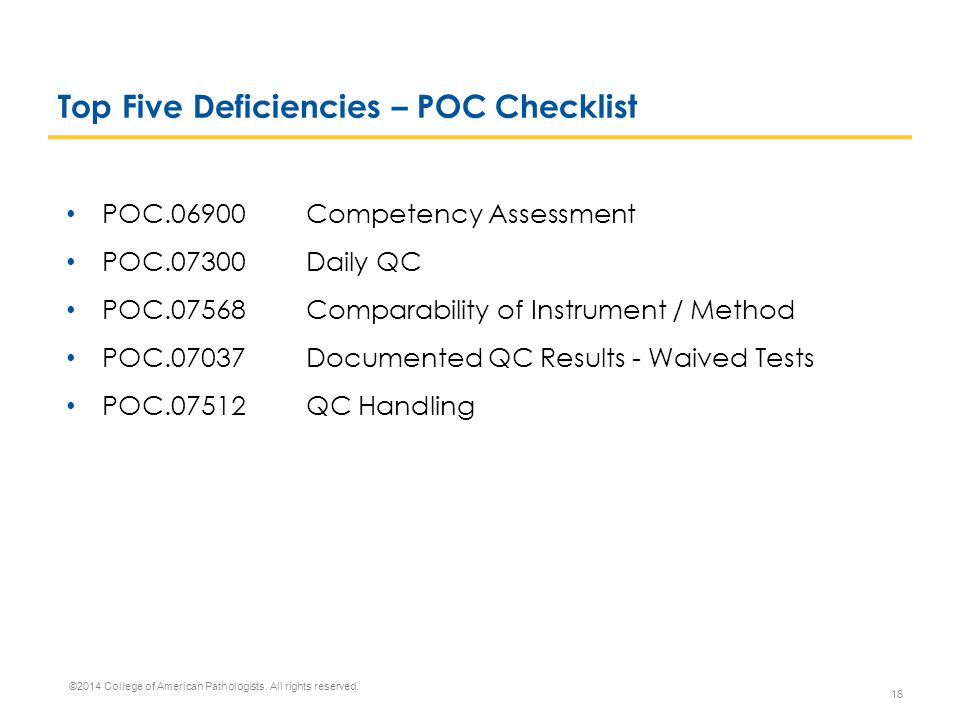 Top Five Deficiencies – POC Checklist