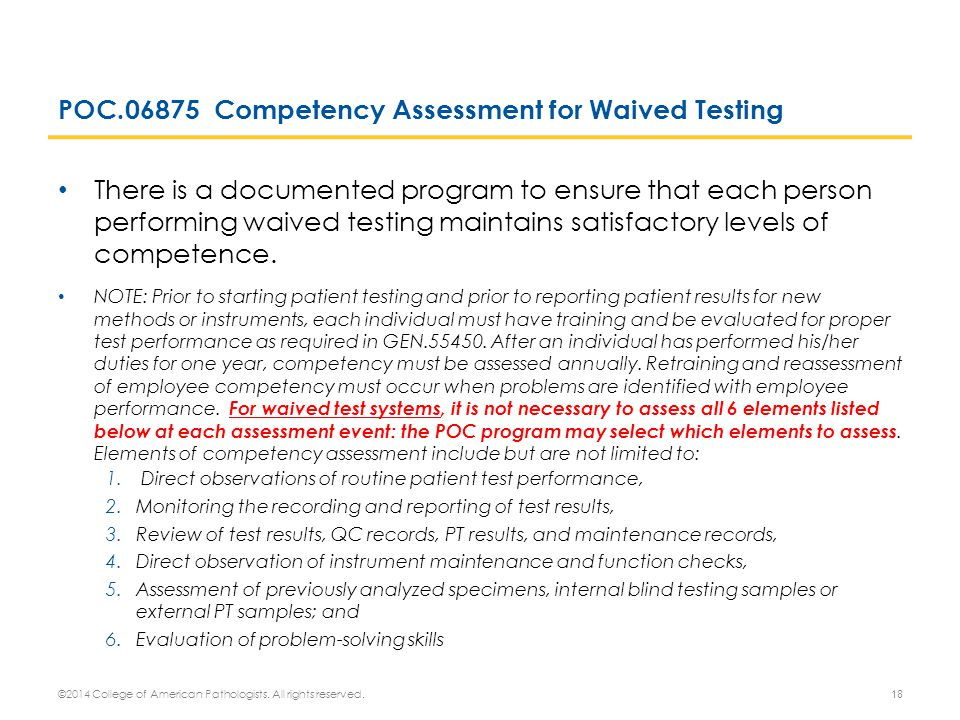 POC.06875 Competency Assessment for Waived Testing