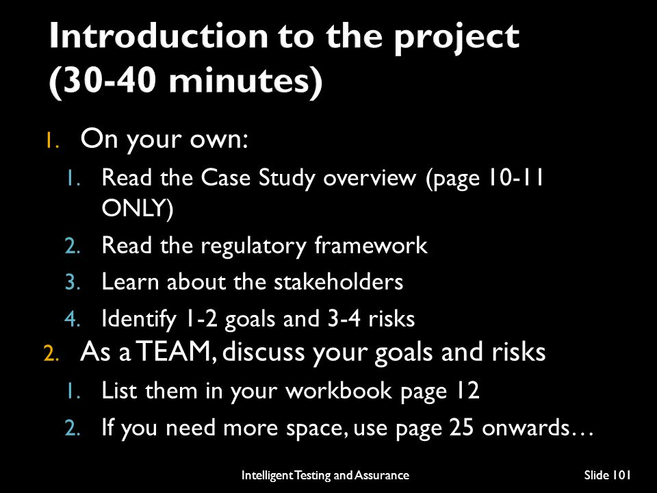 Introduction to the project (30-40 minutes)