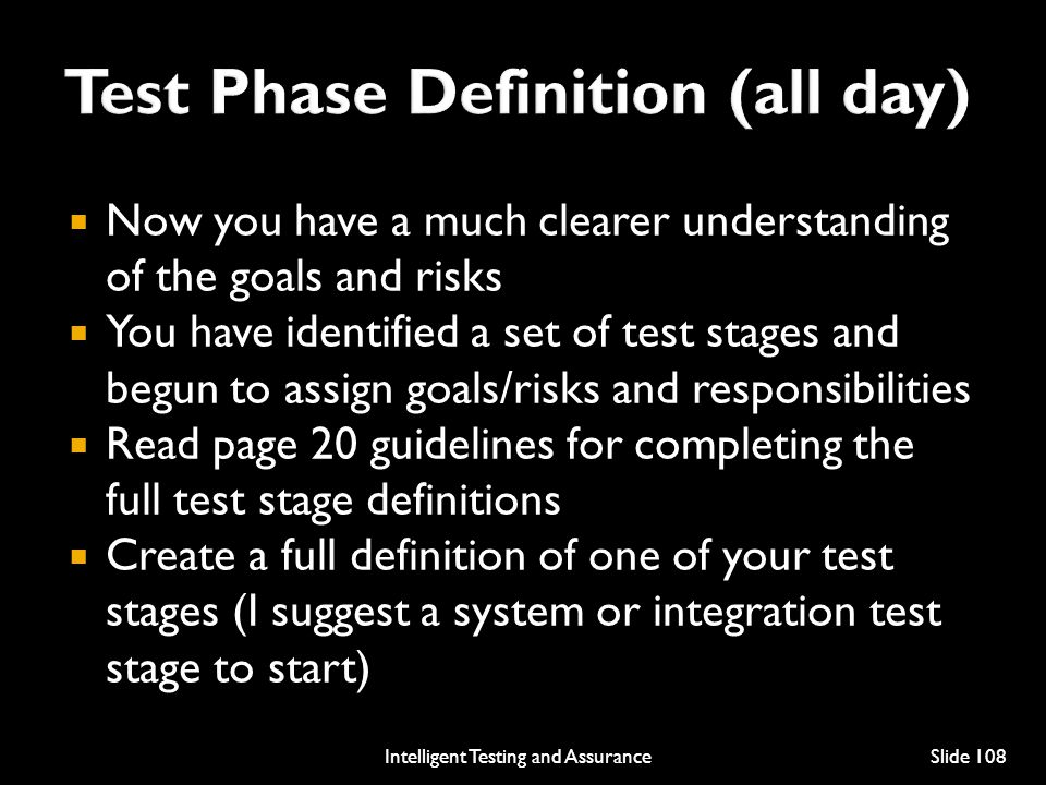 Test Phase Definition (all day)