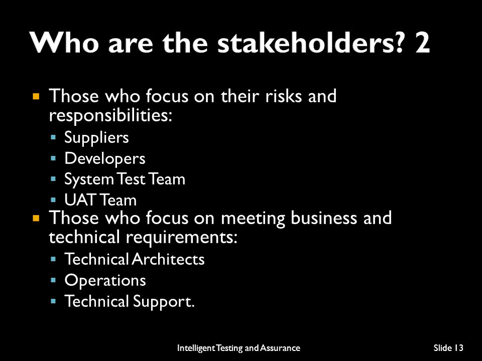 Who are the stakeholders 2