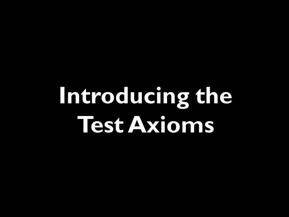 Introducing the Test Axioms
