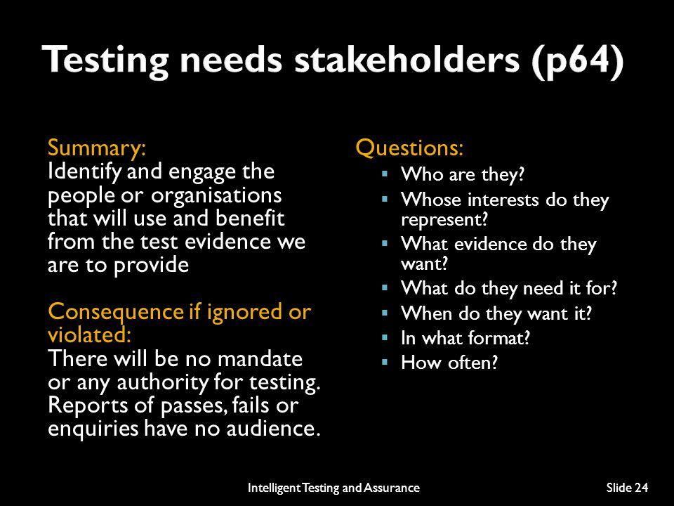 Testing needs stakeholders (p64)