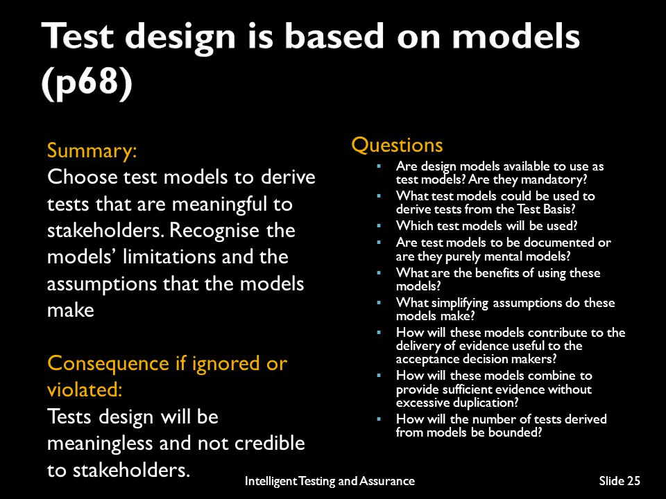 Test design is based on models (p68)