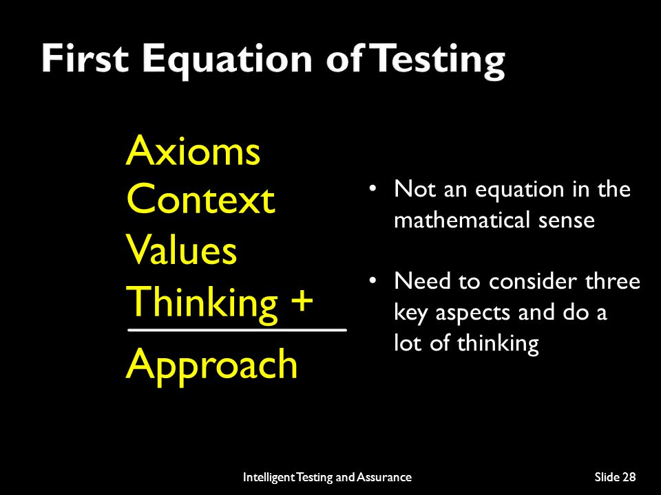 First Equation of Testing