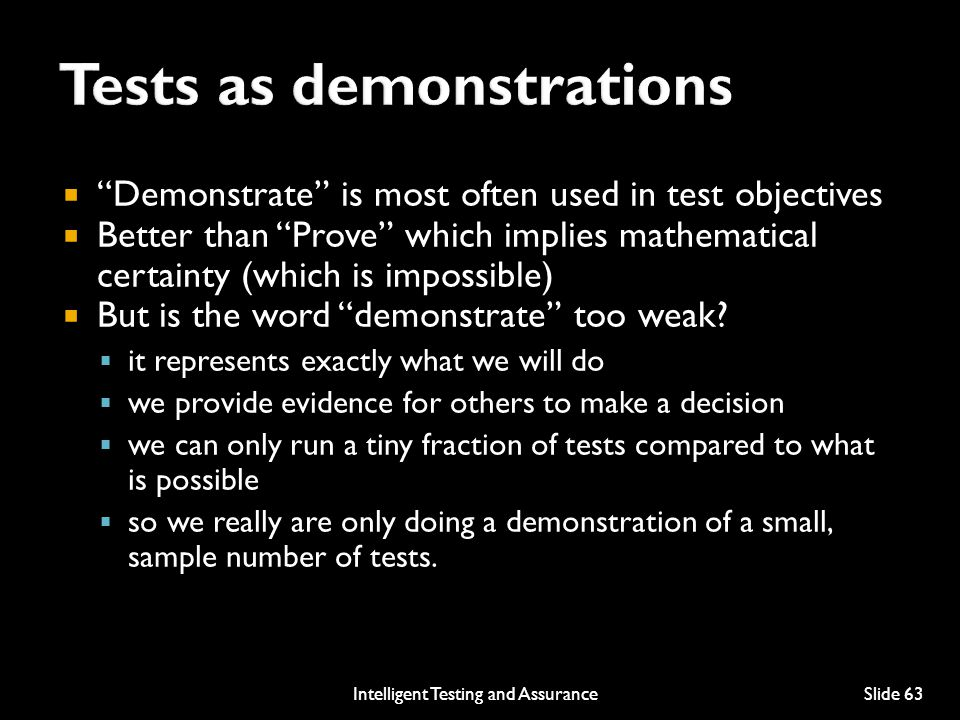 Tests as demonstrations