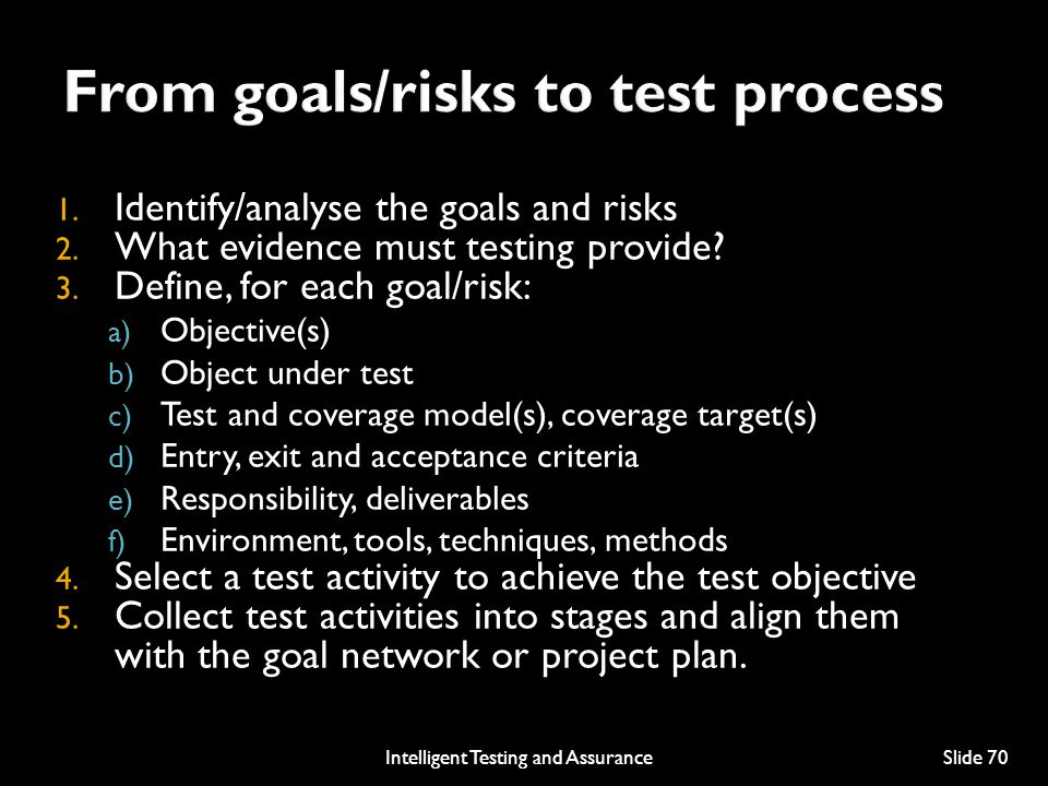 From goals/risks to test process