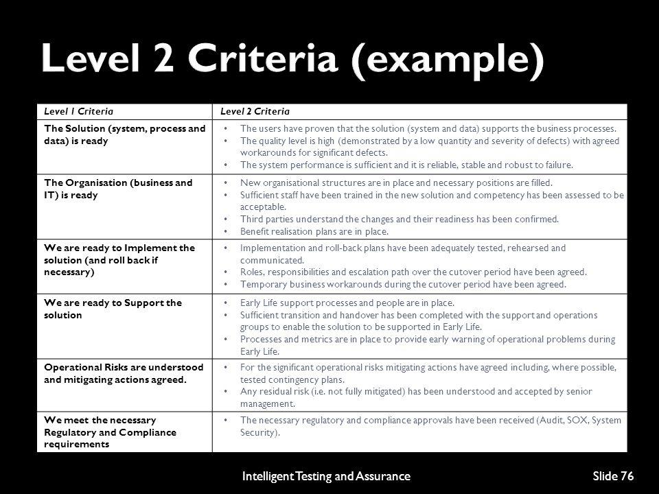 Level 2 Criteria (example)