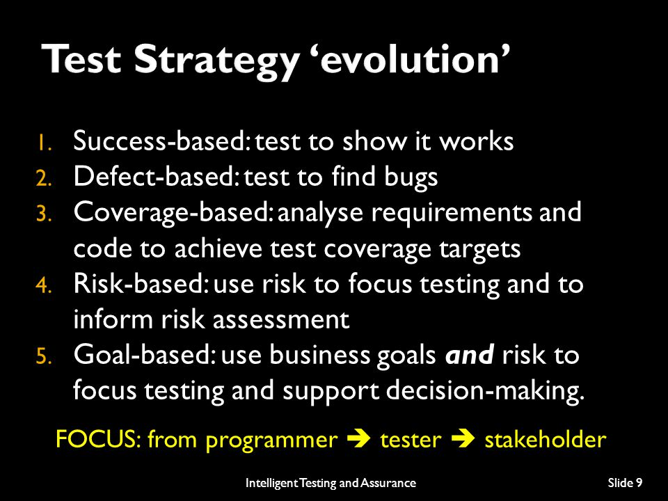 Test Strategy 'evolution'