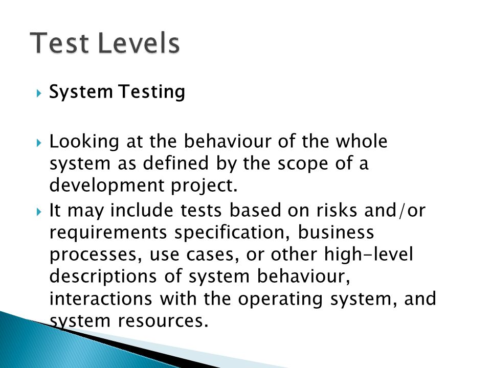 Test Levels System Testing
