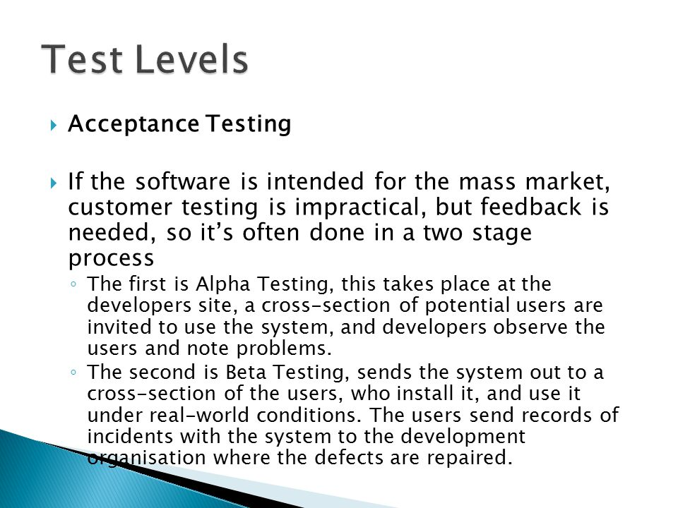 Test Levels Acceptance Testing