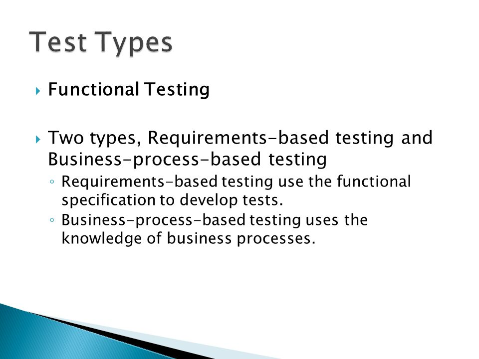 Test Types Functional Testing