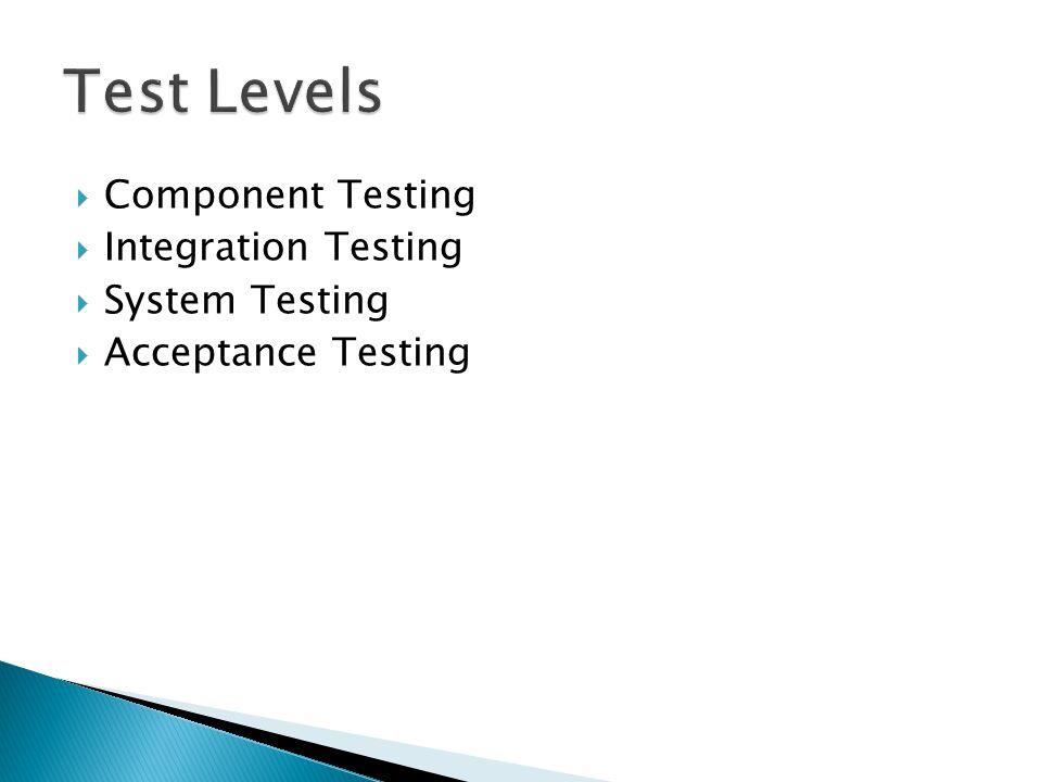 Test Levels Component Testing Integration Testing System Testing