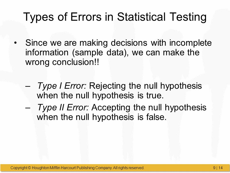 Types of Errors in Statistical Testing