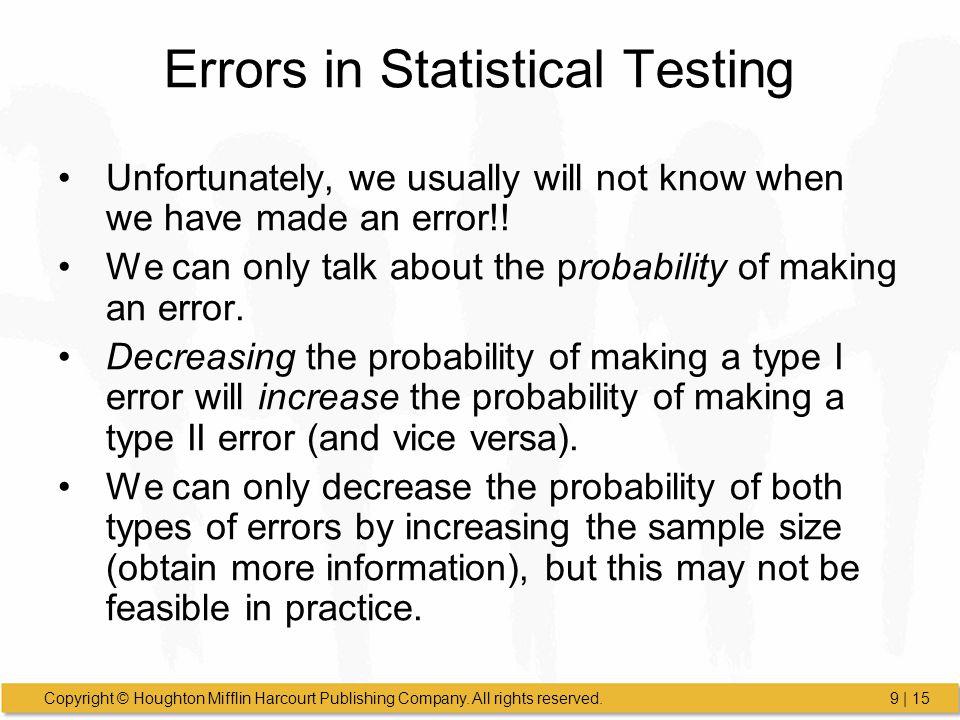 Errors in Statistical Testing