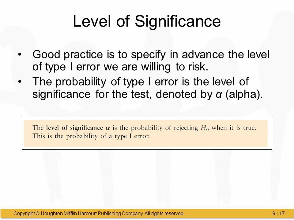Level of Significance Good practice is to specify in advance the level of type I error we are willing to risk.