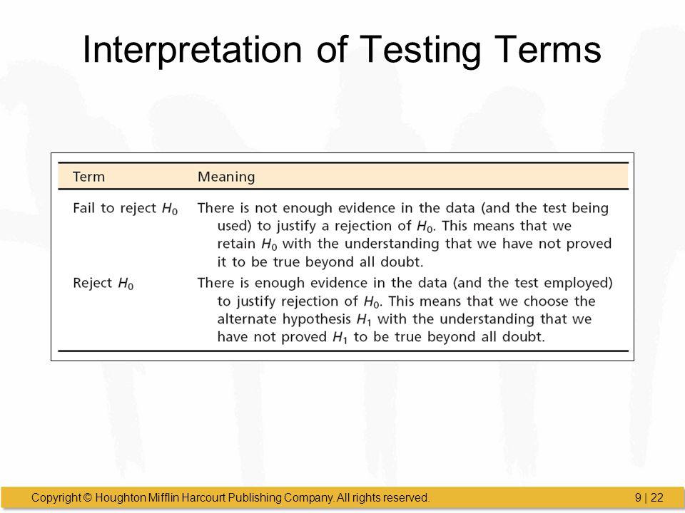 Interpretation of Testing Terms
