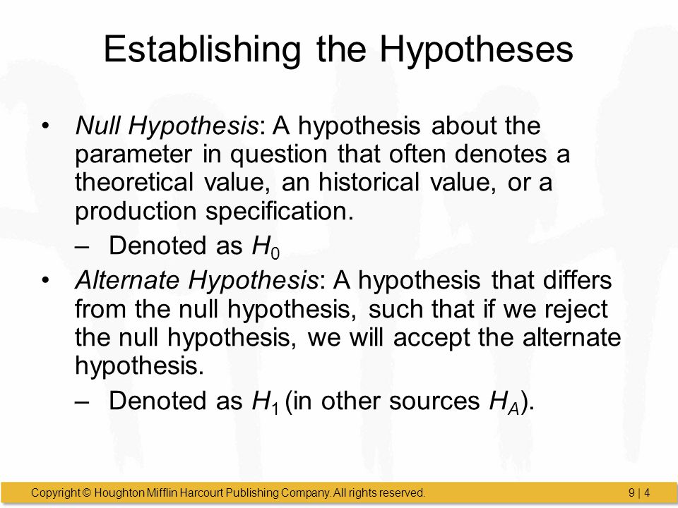 Establishing the Hypotheses