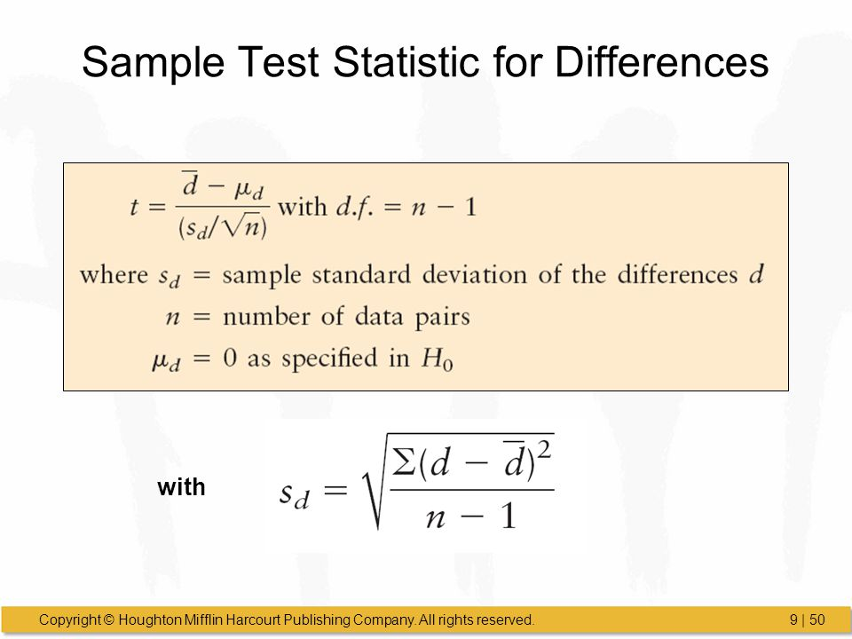 Sample Test Statistic for Differences