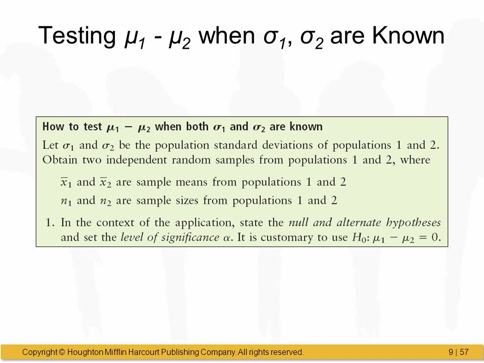 Testing µ1 - µ2 when σ1, σ2 are Known