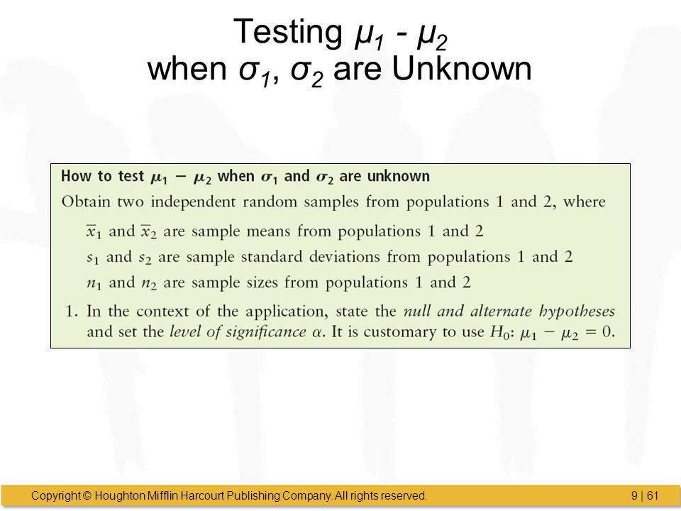 Testing µ1 - µ2 when σ1, σ2 are Unknown