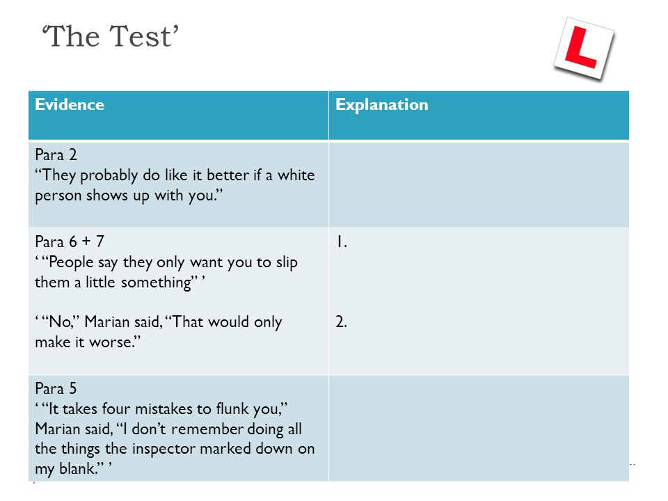 'The Test' Evidence Explanation Para 2