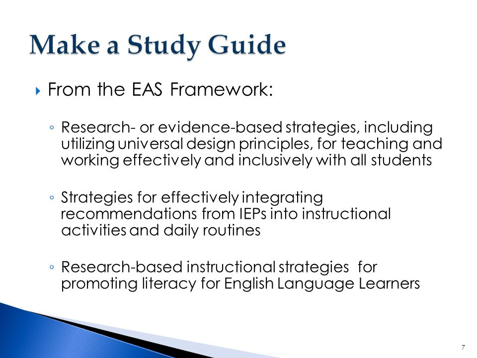 Make a Study Guide From the EAS Framework: