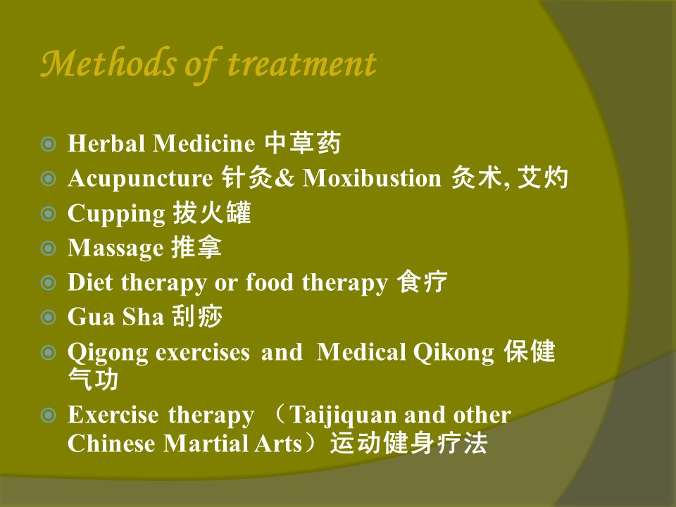 Methods of treatment Herbal Medicine 中草药