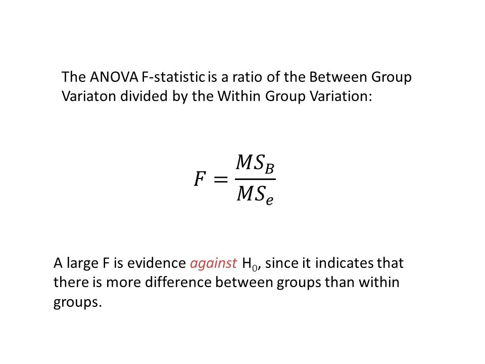 The ANOVA F-statistic is a ratio of the Between Group Variaton divided by the Within Group Variation: