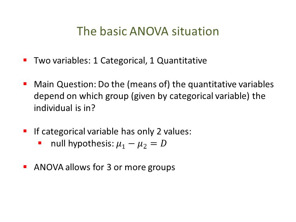 The basic ANOVA situation