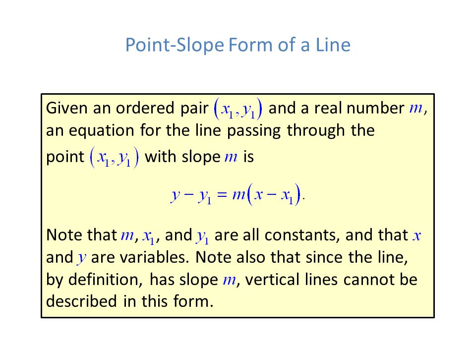 Point-Slope Form of a Line