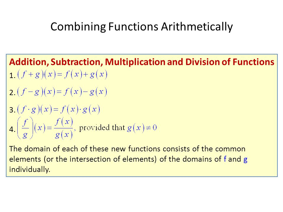 Combining Functions Arithmetically