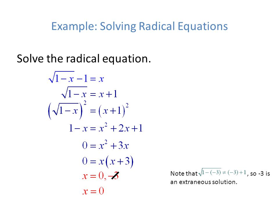 Example: Solving Radical Equations